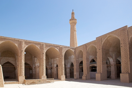 costruction: Architecture details of the courtyard of the Jame Mosque at Nain, Iran  Jame mosque is one of the oldest mosque in Iran  initial costruction date back to the 8th Century  The octagonal minaret was added to the mosque almost 700 years ago   Stock Photo