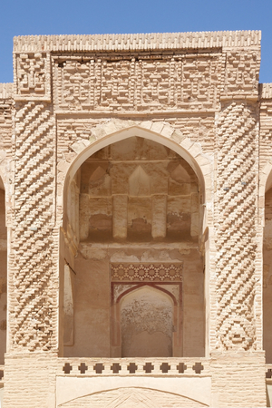 costruction: Architecture details of the Jame Mosque at Nain, Iran  Jame mosque is one of the oldest mosque in Iran  initial costruction date back to the 8th Century  The octagonal minaret was added to the mosque almost 700 years ago