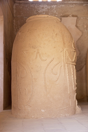 ethnographic: Ancient pottery displayed at the ethnographic moseum at Nain, Iran