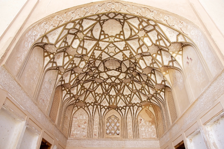 safavid: Architecture details of Pirnia house, the ancient desert house of the Safavid period converted in an ethnographic moseum in 1994, Nain, Iran   Editorial