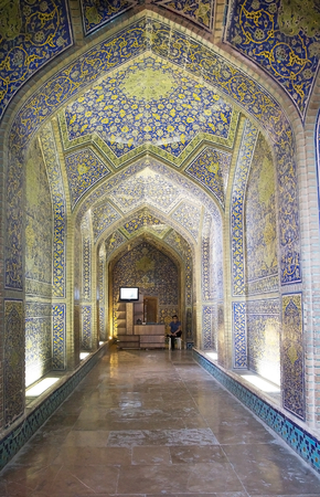 safavid: Interior  of the Sheik Lotfollah Mosque at the Naqsh-e Jahan square, Isfahan, Iran. The mosque is one of the architectural masterpieces of Safavid iranian architecture. The costraction started in 1603 and was finished in 1619. Editorial