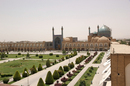 The Shah Mosque also known as Imam Mosque standing at the South side of the Naqsh-e Jahan square, Isfahan, Iran.