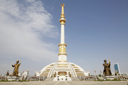 Honor guards at the Independence Monument in Ashgabat, Turkmenistan.The design of the monument is inspired by traditional turkmen tent and the traditional headgear worn by turkmen girl. Element of the monument commemorates the independence of Turkmenistan Editorial