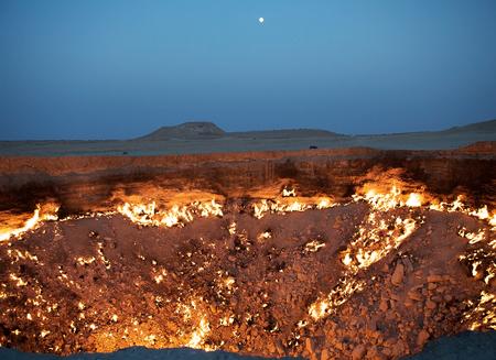 ダルヴァザ、トルクメニスタン、地獄への扉 写真素材