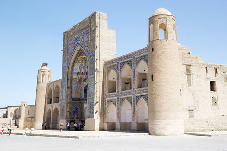 wor: Abdul Aziz Khan Madrasah in the historic centre of Bukhara, Uzbekistan. It is was built in 1651-52 and it is the largest madrasah in Bukhara. The historic centre of Bukhara, which contains numerous mosques and madrassas, has been listed by UNESCO as a Wor Editorial