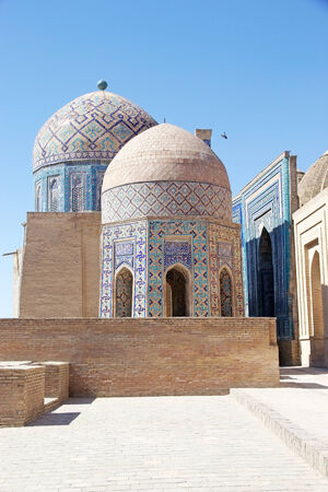 samarkand: Shah-i-Zinda lower group, Samarkand, Uzbekistan.  Stock Photo