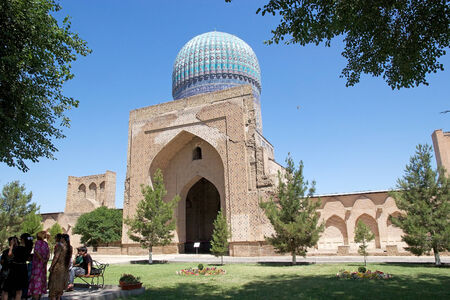 entranceway: The cupola of the main chamber at the Bibi Khanym Mosque, Samarkand, Uzbekistan. The mosque is a famous historical Friday mosque in Samarkand, whose name comes from the wife of Amir Timur. The cupola reaches a height of 40 meters and the entranceway is 35 Editorial