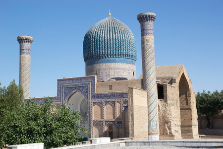 conqueror: Amir Temur Mausoleum, Samarkand, Uzbekistan. It is the mausoleum of the asian conqueror Tamerlane, aolso known as Timur. It is important in the history of Turkic-Persian Architecture as the precursor and model for later great Moghul architecture tomb in n