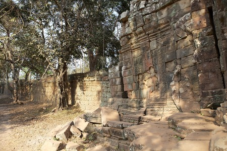 surrounding wall: The surrounding wall at the Ta Prohm temple, Angkor, Siem Reap, Cambodia.