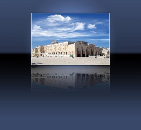 temple mount: El Aqsa Mosque, and reflection, at the Temple Mount, Jereusalem, Israel