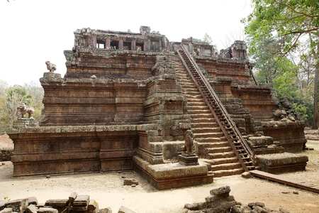 Phimeanakas temple, Angkor, Siem Reap, Cambodia. Phimeanakas is a Hindu temple built at the end of 10th century in the style Khleang. Phimeanakas is located inside the walled enclosure of the Royal Palace of Angkor Thom, north of Baphuon temple.