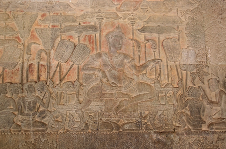 episodes: The bas-reliefs at Angkor Wat, Angkor, Siem Reap, Cambodia. The bas-reliefs cover the back wall of the gallery of the third enclosure for two metres in high and a total of more than 1000 square metres. They rapresented episodes from the Hindu epics Ramaya Stock Photo