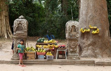 street vendor: Fruits street vendor and child along the road to Preah Khan temple ruins, Angkor, Siem Reap, Cambodia.