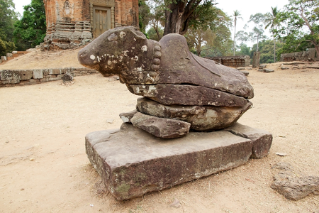 nandi: Nandi, the Shiva bull,  in the enclosure of the Bakong temple ruins, Angkor, Siem Reap, Cambodia. The temple is part of the Roluos group, that include three temples, Bakong, Praeh Ko e Lolei.