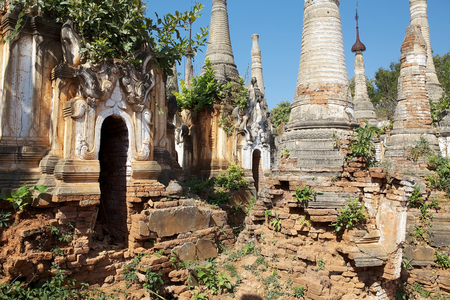 Mention: Shwe Inn Dain Pagoda complex, Indein village, Inle Lake, Myanmar. Shwe Inn Dain and its 1054 pagodas history is shrouded in mystery: Myanmar historical records make no mention of its construction. One theory puts its beginnings at 300-200 BC