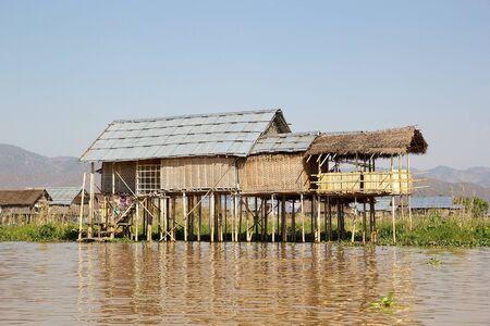 stilt house: Traditional wooden stilt house on the Lake Inle, Shan State, Myanmar. Stock Photo