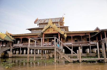 woden: Nga Phe Chaung Monastery, Shan State, Lake INle, Myanmar.  Stock Photo