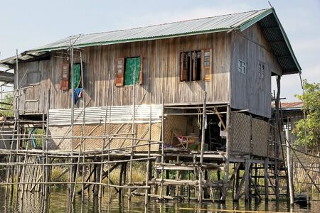 stilt house: Traditional wooden stilt house at the Nan Pan village on the Lake Inle, Shan State, Myanmar.