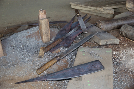 forge: Tools in a traditional forge at the Nan Pan village on the Lake Inle, Shan State, Myanmar Stock Photo
