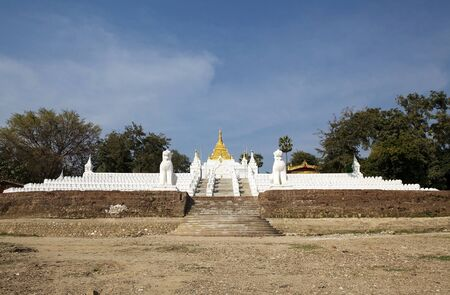 river banks: The stairway leading up from the Irrawaddy river banks to MIngun Pahtodawgy  Mingun, Myanmar. The Mingun Pahtodawgy is an incomplete stupa. The ruins are the remains of a massive construction project begun by King Bodawpaya in 1790.