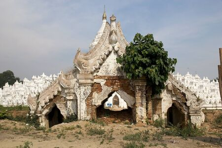 Hsinbyume Pagoda also known as Myatheindan Pagoda entrance ruins. The Hsinbyume is a large white pagoda on the northern side of Mingun, Sangaing Region, Myanmar, on the western bank of Irrawaddy river. The pagoda is modeled on the Phisical description of