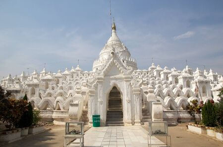 Hsinbyume Pagoda also known as Myatheindan Pagoda. The Hsinbyume is a large white pagoda on the northern side of Mingun, Sangaing Region, Myanmar, on the western bank of Irrawaddy river. The pagoda is modeled on the Phisical description of the Buddhist my