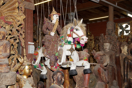 forsale: Traditional marionette, Knight and horse, is for sale in a shop in Mandalay, Myanmar