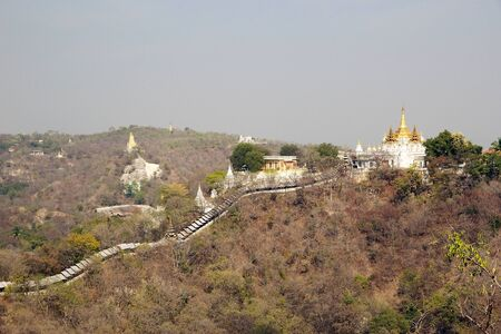 monastic: Sagaing Hill, Myanmar. Sagaing with numerous Buddhist monasteries is an inportant religious and monastic center.
