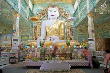 sone: Buddha image at the Sone Oo Pone Nya Shin Pagoda, Nga Pa hill, Sagaing hill, Sagaing, Myanmar. Sone Oo Pone Nya Shin Pagoda lies on the top of Nga Pa hill, one of the 37 hilltop of Sagaing Hills. It was built in 674.