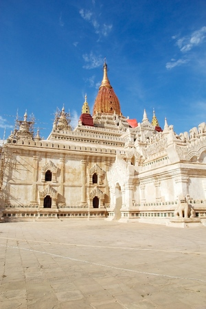 well maintained: Ananda Temple in Bagan, Myanmar. The Ananda Temple is a buddhist temple built in 1105 AD during the reign of King Kyanzittha. The temple was damaged in the heardquake of 1975 and it has been fully restored and is well maintained.