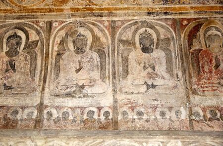 well maintained: Mural painting at the Ananda Temple in Bagan, Myanmar. The Ananda Temple is a buddhist temple built in 1105 AD during the reign of King Kyanzittha. The temple was damaged in the heardquake of 1975 and it has been fully restored and is well maintained.