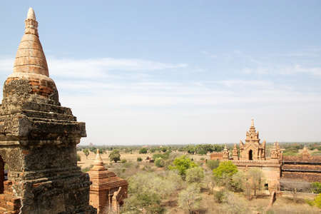 monastic: Panoramic view from the Sin Byu Shin monastic complex ruins in Bagan, Myanamr