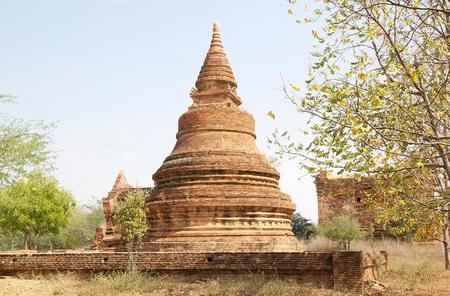 monastic: Pagoda at the Sin Byu Shin monastic complex ruins in Bagan, Myanamr