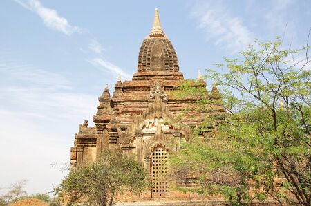 monastic: Temple at the Sin Byu Shin monastic complex ruins in Bagan, Myanamr Stock Photo