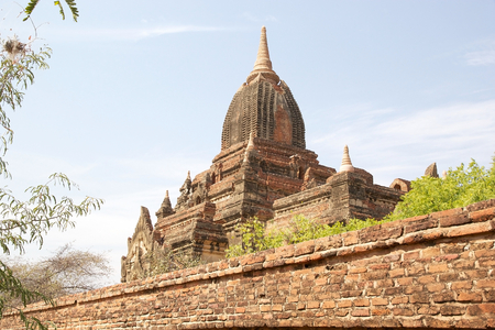 monastic: Temple ruins at the Sin Byu Shin monastic complex  in Bagan, Myanamr Stock Photo