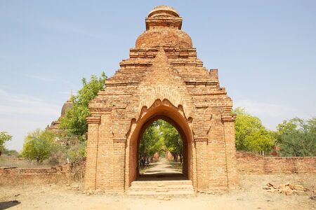 monastic: The entrance at the Sin Byu Shin monastic complex ruins in Bagan, Myanamr