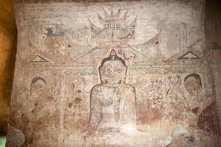 artisitc: Mural painting at the Sulamani temple, Bagan, Myanmar. Sulamani temple was built in 1183 by King Narapatisithu. Sulamani temple was restored after the 1975 earthquake.