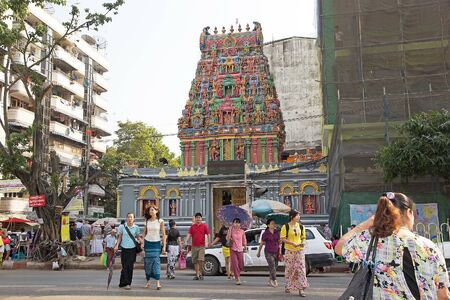 kali: Sri Kali temple in downtown Yangon, Myanmar. Sri Kali Temple is a Hindu temple built by Tamil migrant in 1871 and has been restore in 2011-2012