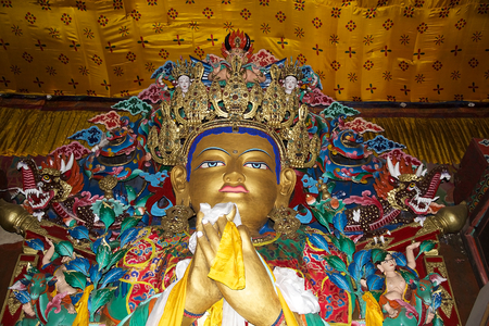 future buddha: Details of the main statue, Maitreya Buddha or Future Buddha, inside the Yiga choeling Monastery, Ghoom, Darjeeling, West Bengal, India. Yiga Choeling Monastery, located at Ghoom, 8 Km from Darjeeling at an elevation of 8000 feet, is the first Tibetan mon