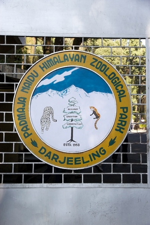specializes: Padmaja Naidu Himalayan Zoological Park logo on the entrane gate, Darjeeling, West Bengal, India. The zoo was open in 1958 an average elevation of 2134 metres. it is specializes in breeding animals adapted to alpine condition and has succesful captive bre
