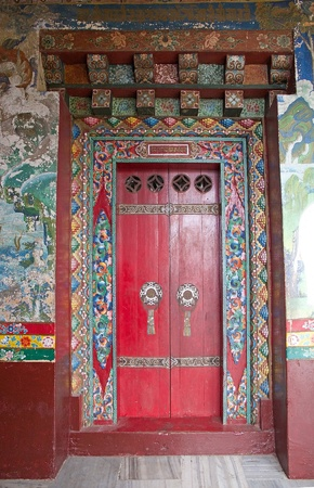 old doors: Door at the Pemayangtse Monastery, Sikkim, India. Pemayangtse Monastery is a Buddhist monastery in Pemayangtse, near Pelling, Indian State of Sikkim. Founded by Lama Lhatsun Chempo in 1705, it is one of the oldest monasteries in Sikkim.