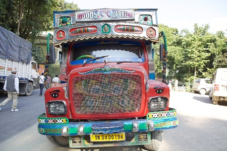 extensively: Decorated truck at the West Bengal-Sikkim border, India. The truck decorations are extensively used in North India and Pakistan to ward-off the evil eye.