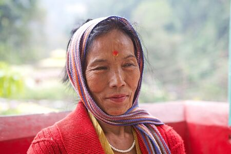 bindi: Hindu woman with bindi, the ornamental mark on the forehead. The red dot on the forehead is an auspicious sign marriage and guarantees the social status and sanctity of istitution of marriage. Editorial