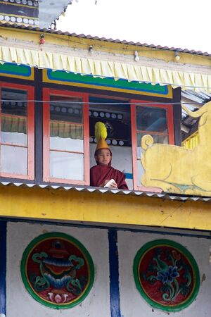 robes: Young monk in traditional robes and hat at the Yung Drung Kundrak Lingbon Monastery, 5 Km from Ravangla, West Sikkim, India. The Yung Drung Kundrak Lingbon is a Bon monastery. Bon is Tibetan religious tradition or sect, being distinct from Buddhism ones i