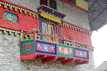 ecclesiastical: Decorated balcony at the Labrang Gompa, Sikkim, India. It is a octagonal shape gompa along the road to Gagtok. The gompa is a Buddhist ecclesiastical fortification. Stock Photo