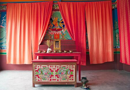 ecclesiastical: Labrang Gompa, Sikkim, India. It is a octagonal shape gompa along the road to Gagtok. The gompa is a Buddhist ecclesiastical fortification.