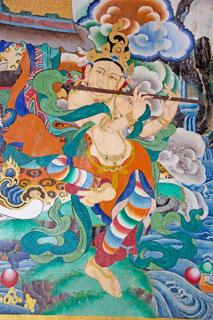 sectarian: Painting at the Rumtek Monastery, Sikkim, India. Rumtek Monastery is a gompa located near gangtok, capital of Indian state of Sikkim. It is a focal point of the sectarian tensions within the Karma Kangyu school of Tibetan Buddhism that caracterize the Kar