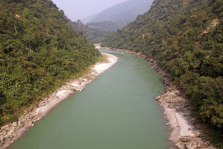 tributary: Teesta River valley, West Bengal, India. The rivers forms the border between Sikkim and west Bengal before joining the Brahmaputra as a tributary in Bangladesh.
