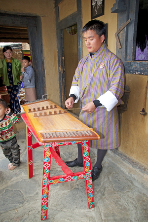 bronz: Bhutanese musician is playing a yangqin, Thimpu, Bhutan. The trapezoidal yangqin is tradinally fitted with bronz strings, which gave the instrument soft timbre. The music of Bhutan is an integral part of its culture and plays a leading role in trasmitting