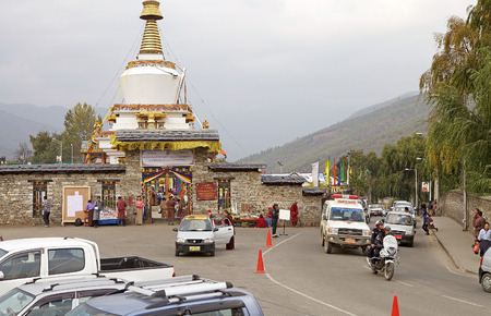 conceived: Memorial Chorten, Thimphu, Bhutan. The Memorial Chorten was conceived by Thinley Norbu, according to the Nyingma tradition of Tibetan Bhuddism. It was erected in 1974 in memory of Jigme Dorji Wanchuck, 3rd Druk Gyalpo, who had died in 1972. It is the most Editorial
